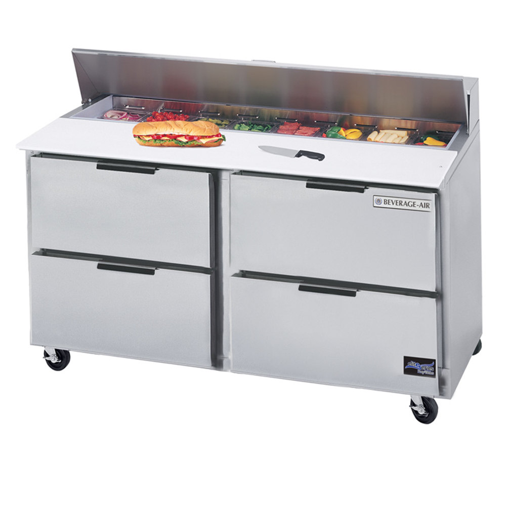 "Beverage-Air SPED60-12-4 60"" Four Drawer Refrigerated Salad / Sandwich Prep Table"