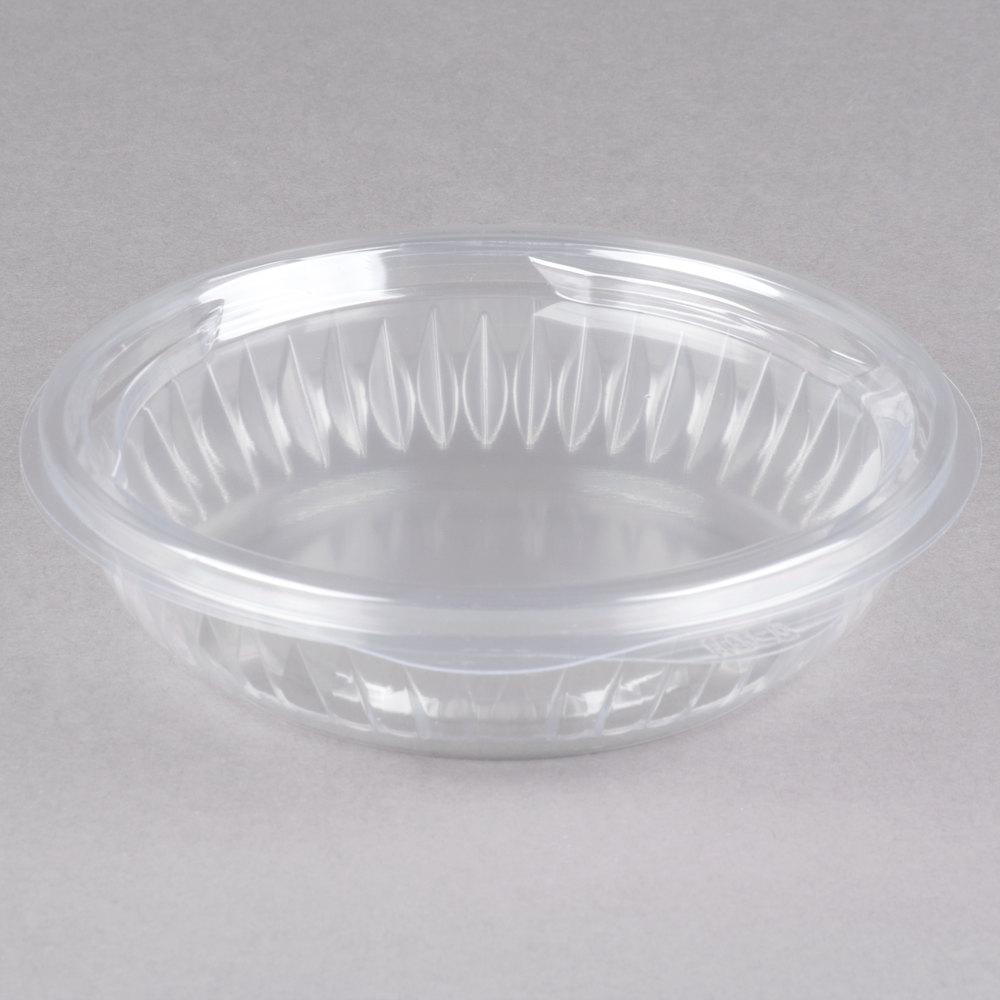 dart c8hbf presentabowls 8 oz clear hinged plastic bowl with flat lid 300 case. Black Bedroom Furniture Sets. Home Design Ideas