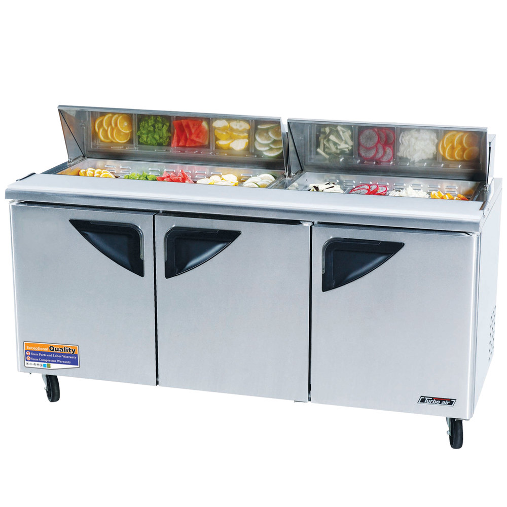 "Turbo Air TST-72SD 72"" Super Deluxe Refrigerated Sandwich / Salad Prep Table"