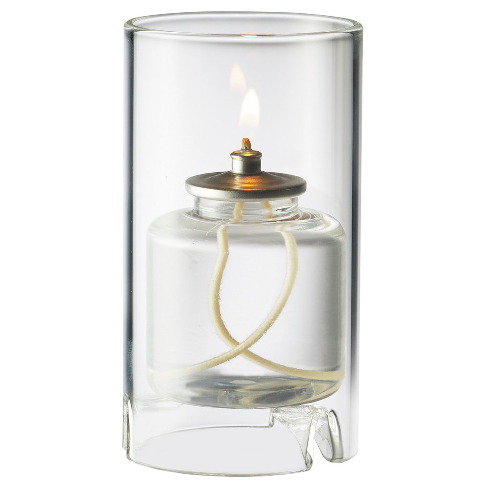 "Sterno Products 80120 Nikola 4 1/2"" Clear Round Glass Liquid Candle Holder"