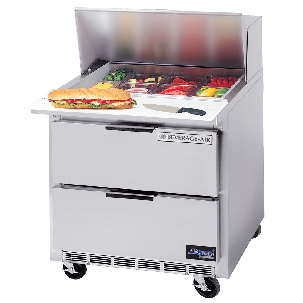 "Beverage Air SPED36-12M 36"" Mega Top Refrigerated Salad / Sandwich Prep Table with 2 Drawers"