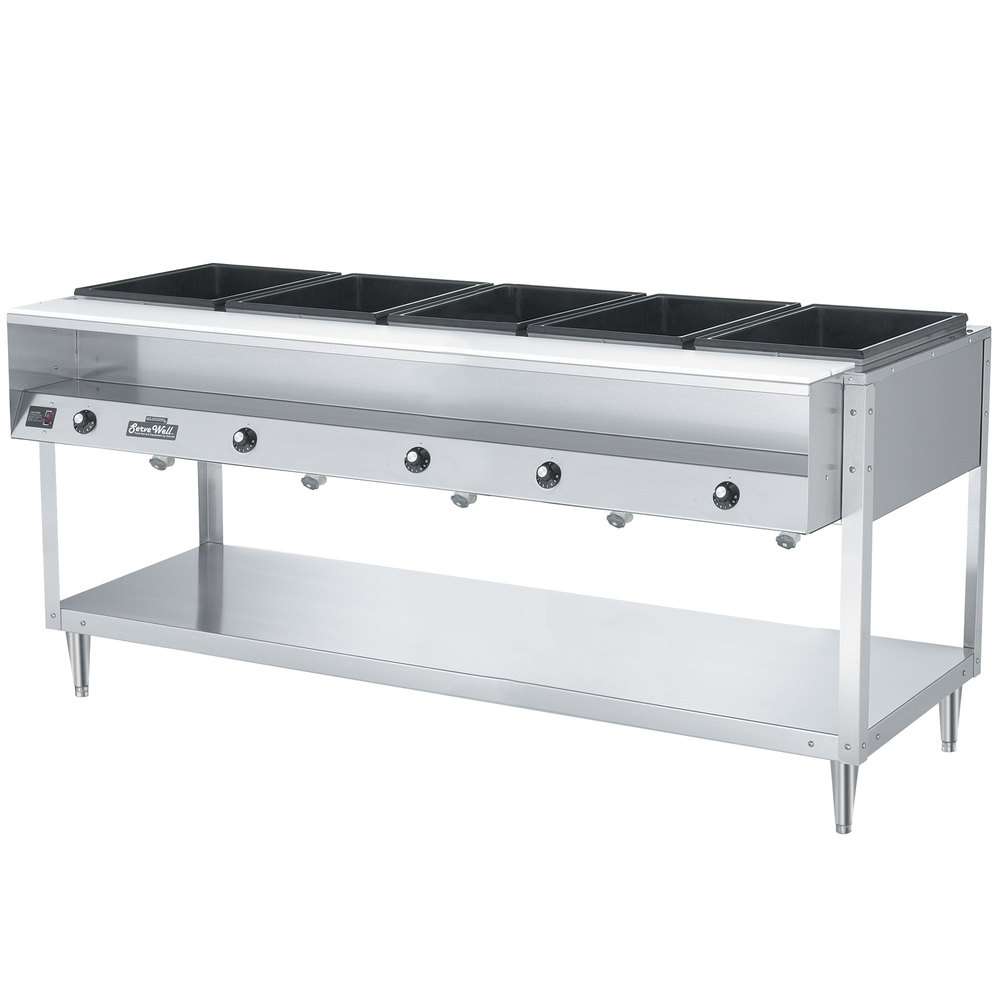 Vollrath 38005 ServePan Electric Five Pan Hot Food Table 120V - Sealed Well