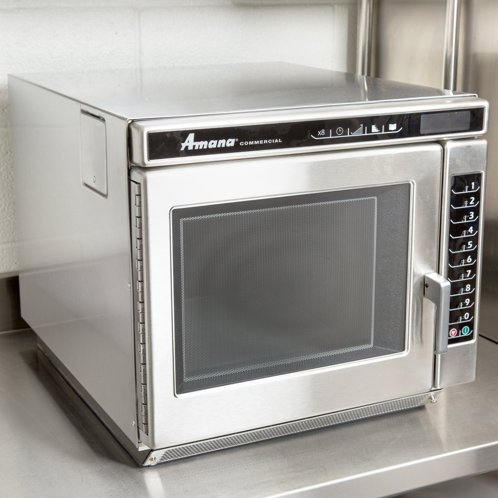 Amana RC17S2 Heavy Duty Stainless Steel Commercial Microwave Oven with Push Button Controls - 208/240V, 1700W