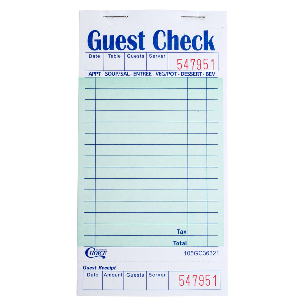 Choice 1 Part Green And White Guest Check With Bottom