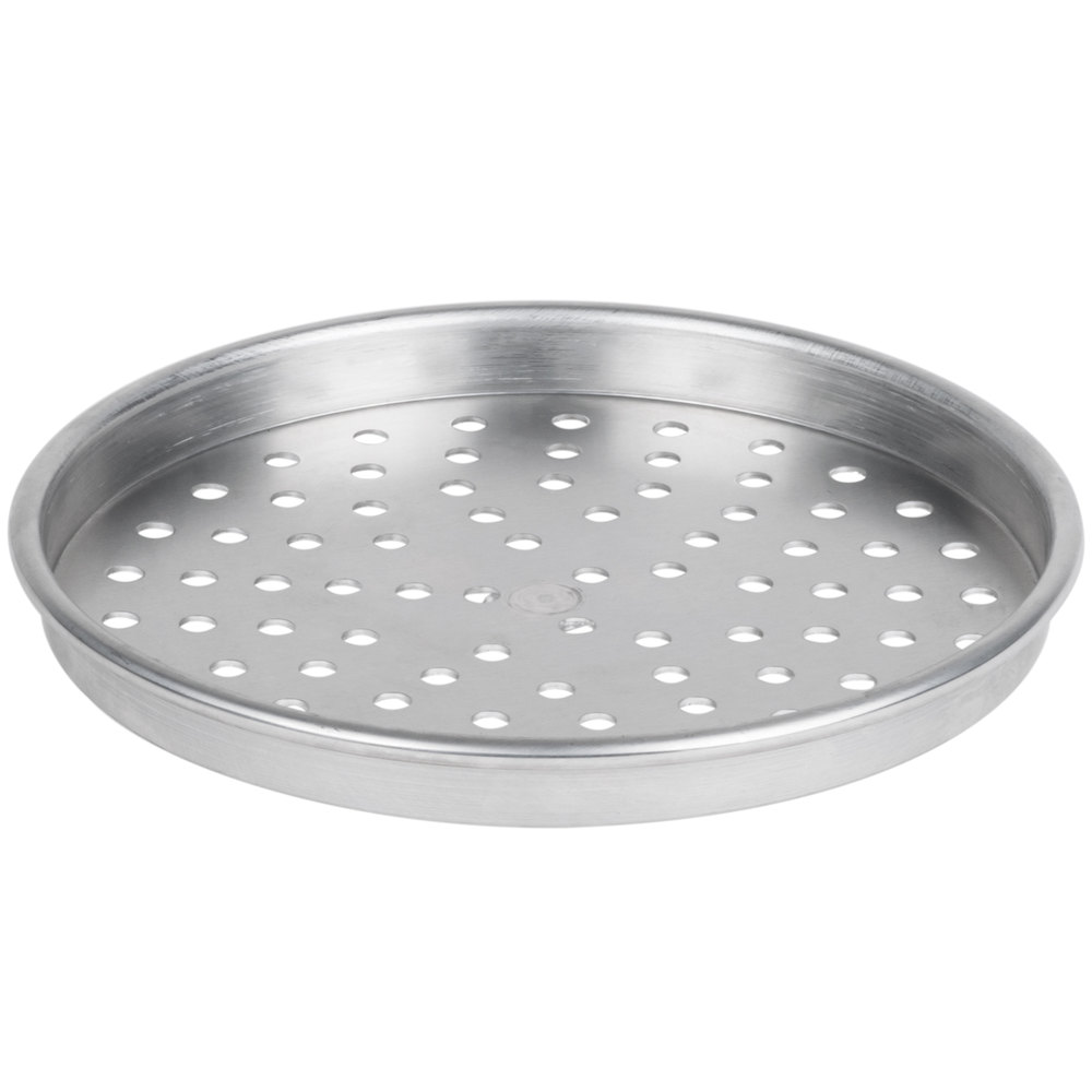 "American Metalcraft HA4009P 9"" x 1"" Perforated Heavy Weight Aluminum Straight Sided Pizza Pan"
