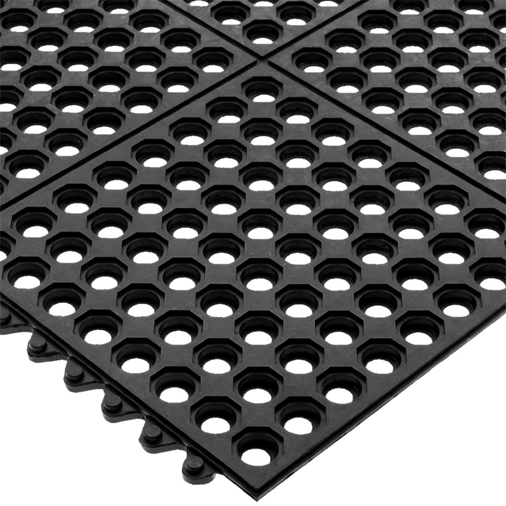 Rubber floor mats for wet areas - San Jamar Km1140b Connect A Mat 3 X 3 Black Grease