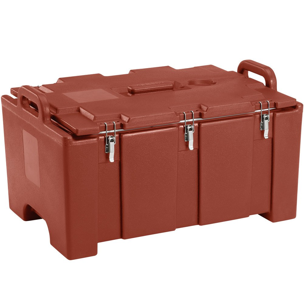 "Cambro 100MPC402 Camcarrier Red Brown Top loading Pan Carrier with Handles for 12"" x 20"" Food Pans"