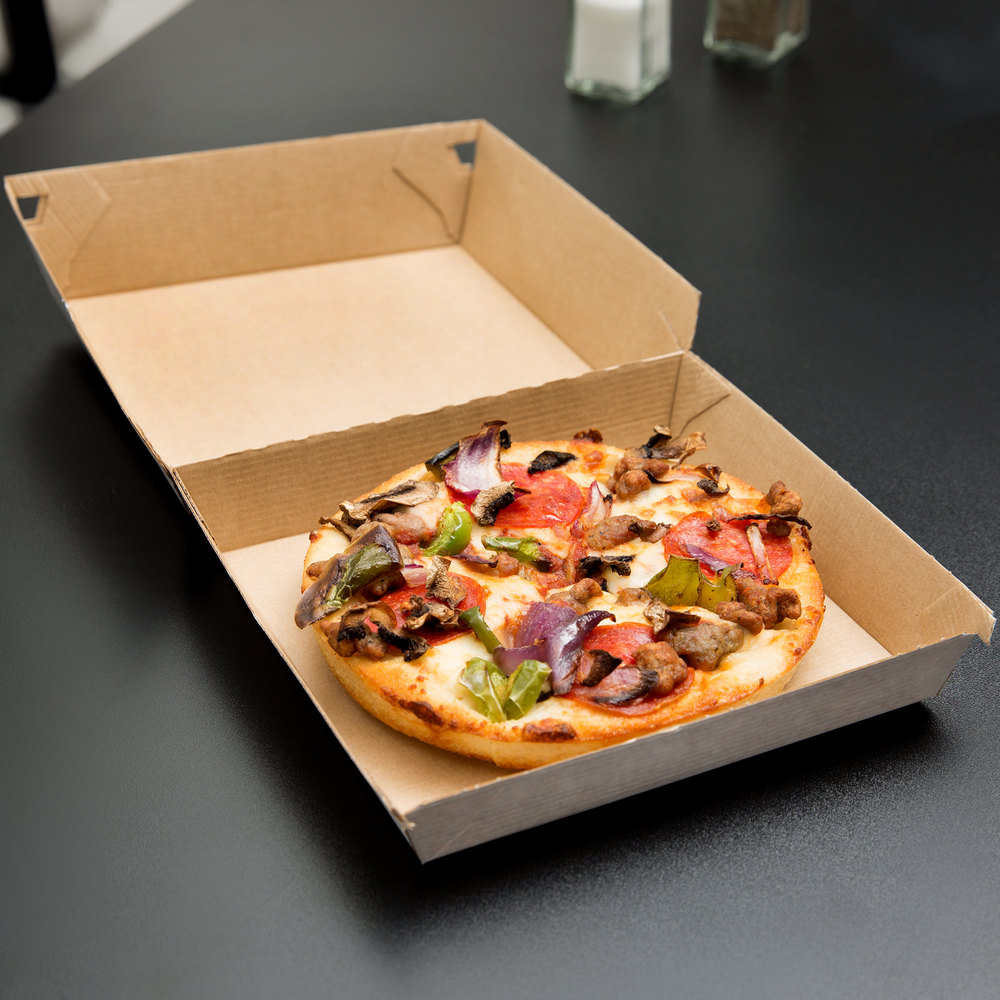 "LBP 55200 6 1/2"" x 6 1/2"" x 2 1/8"" Corrugated Clamshell Personal Pizza Take-Out Box - 200/Case"