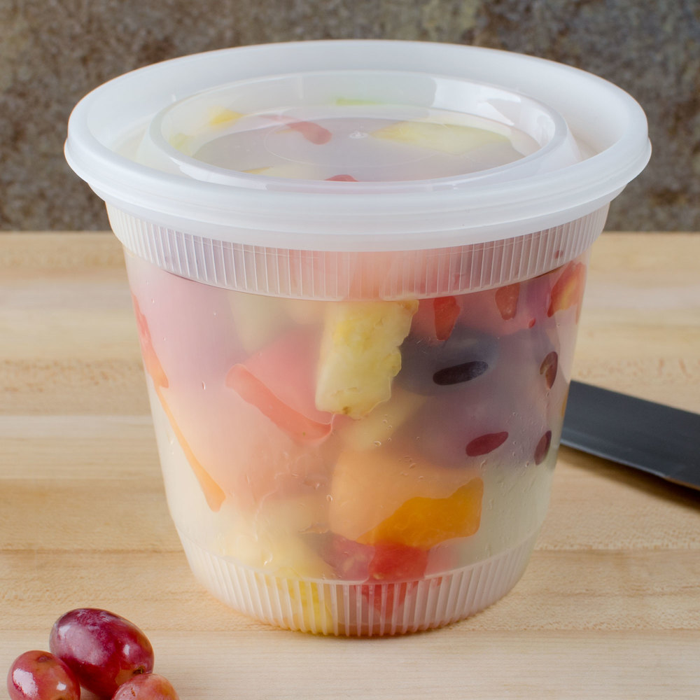 Newspring DELItainer L8328 32 oz. Translucent Round Squat Deli Container Combo Pack - 200/Case
