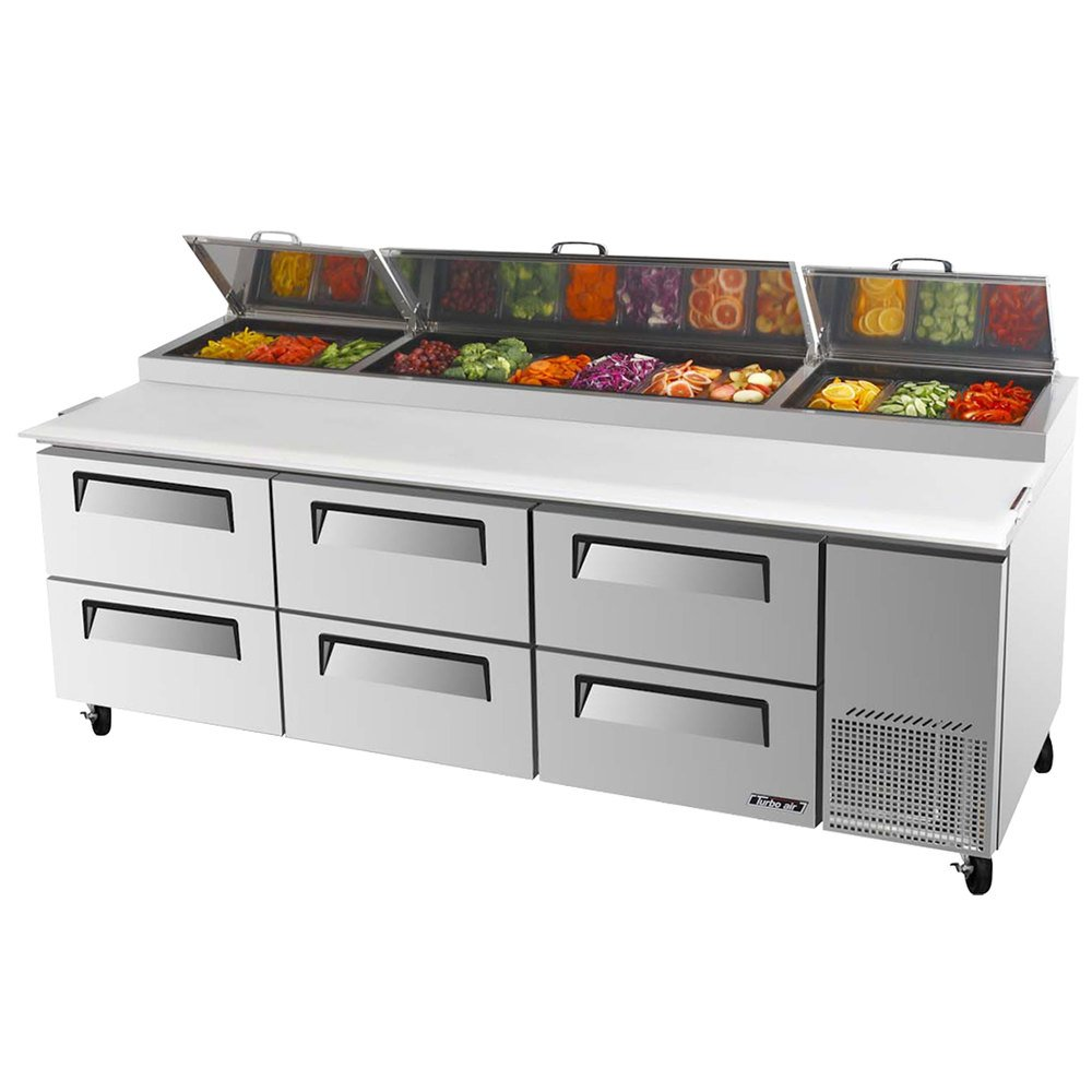 "Turbo Air TPR-93SD-D6 93"" Six Drawer Pizza Prep Table"