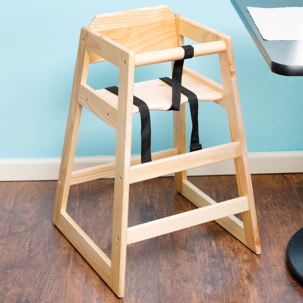 "29 1/4"" Stacking Restaurant Wood High Chair with Natural Finish - Unassembled"