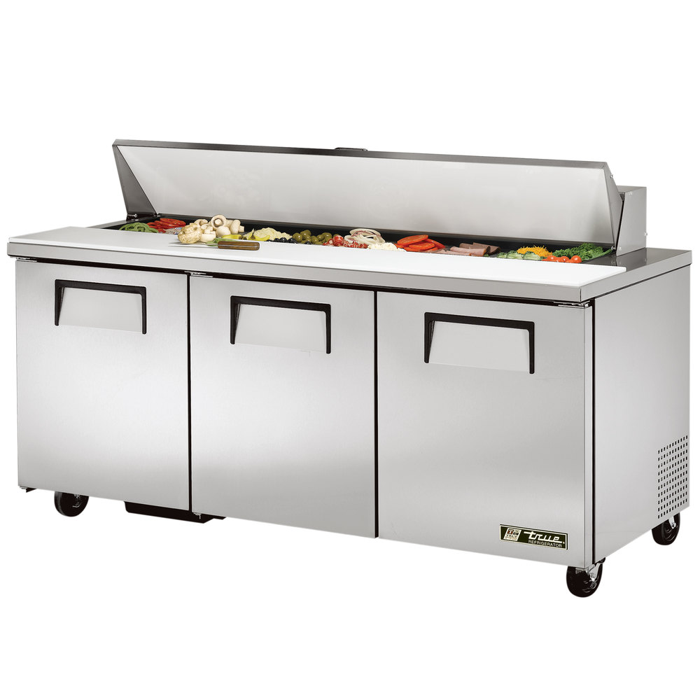 True Tssu 72 18 72 Quot 3 Door Refrigerated Sandwich Prep Table
