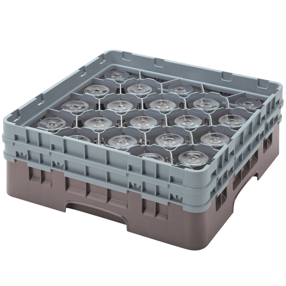 "Cambro 20S1114167 Camrack 11 3/4"" High Brown 20 Compartment Glass Rack"