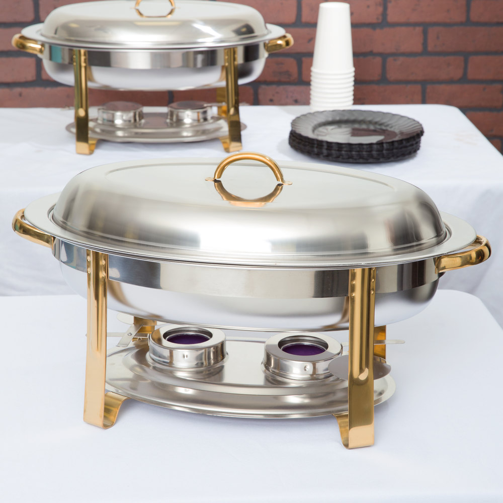 Choice Deluxe 6 Qt. Oval Gold Accent Chafer