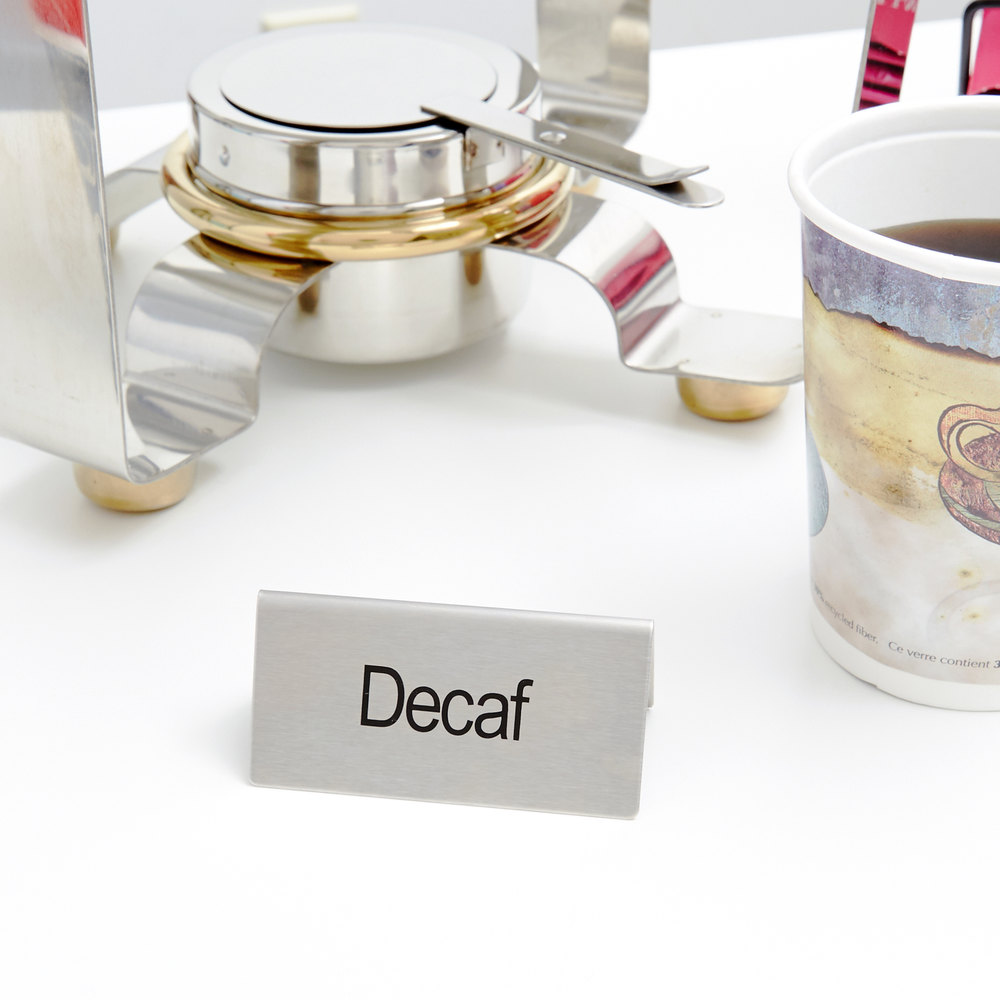 """Decaf"" Table Tent Sign Stainless Steel - 3"" x 1 1/2"""