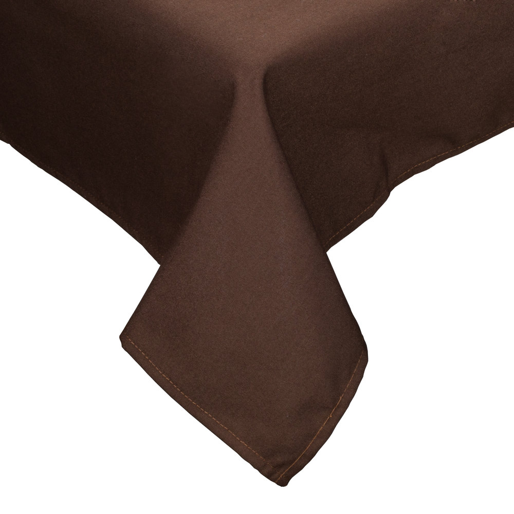 "64"" x 120"" Brown Hemmed Polyspun Cloth Table Cover"