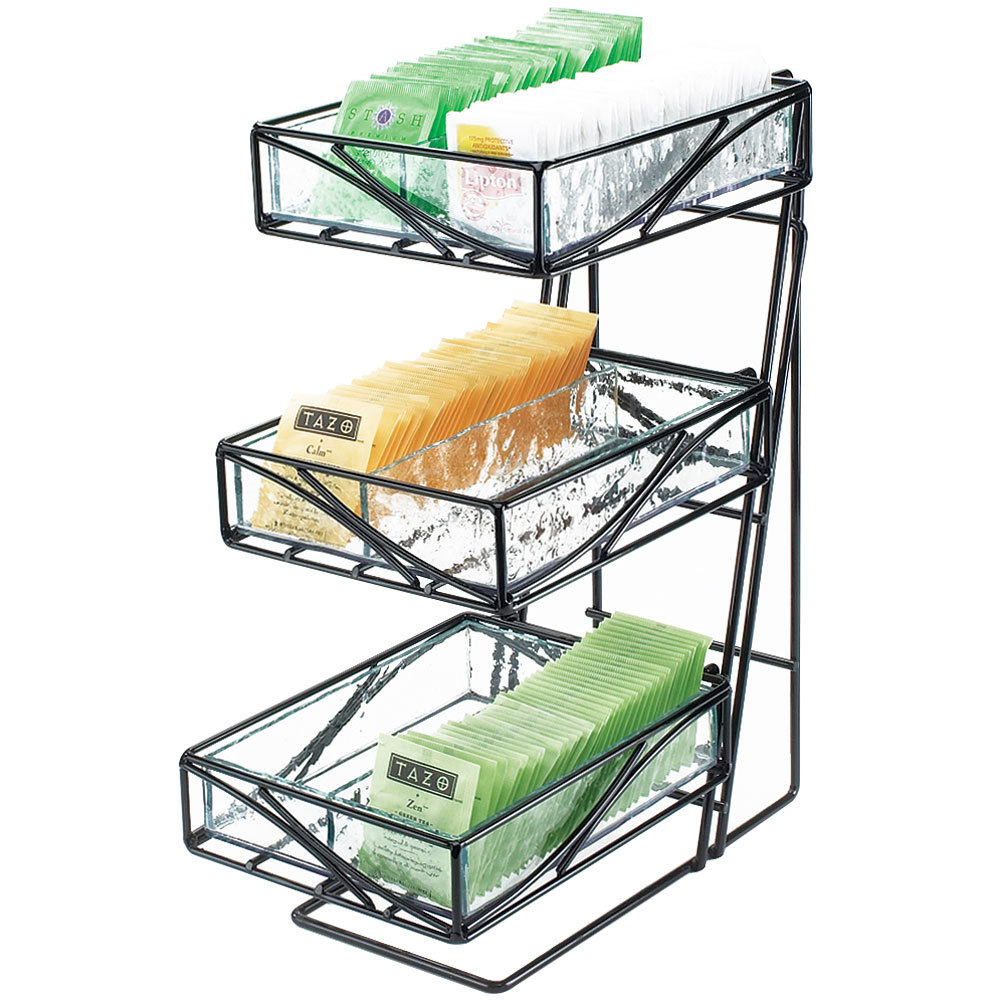 Cal-Mil 1235-TEA Glacier Three Tier Tea Center Display with Faux Glass Bins