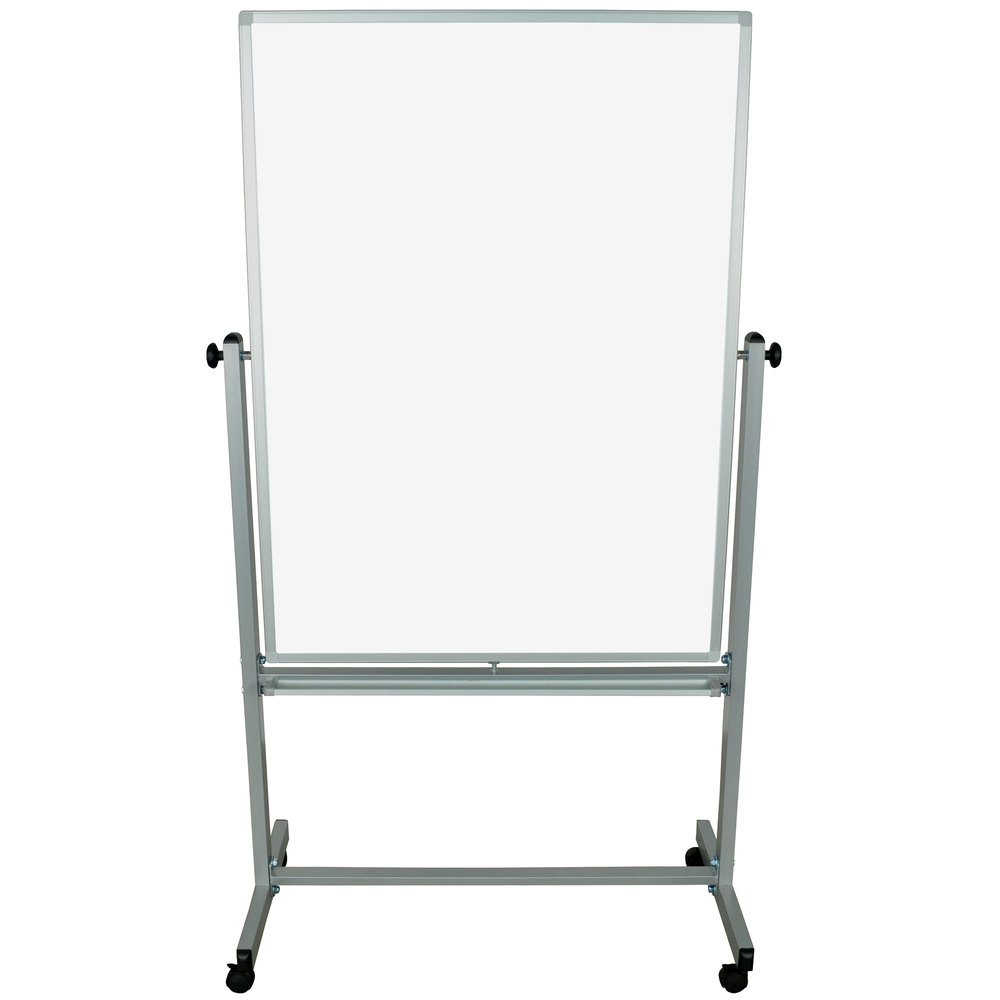 "Luxor / H. Wilson MB3648WW 35 3/8"" x 47 1/4"" Double-Sided Whiteboard with Aluminum Frame and Stand"