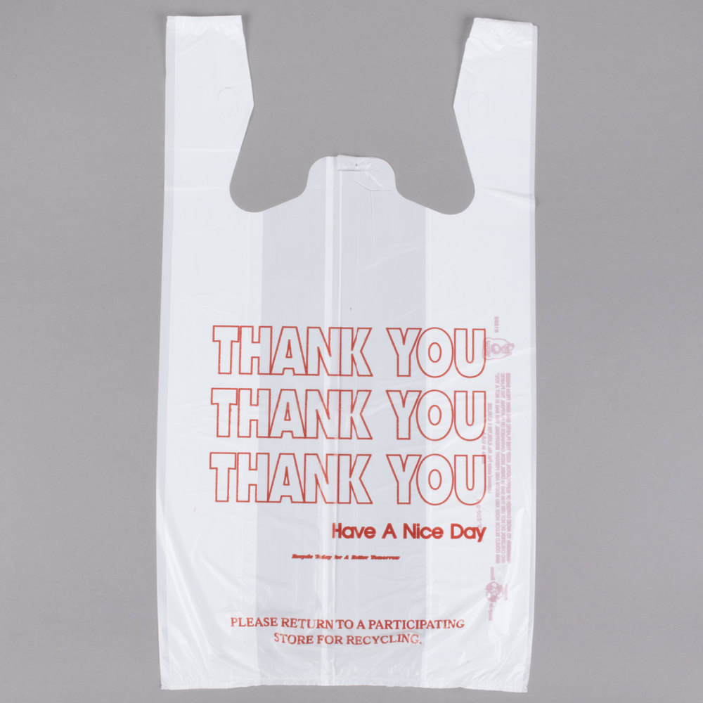 1 6 Size White Quot Thank You Quot Plastic T Shirt Bag 700 Case