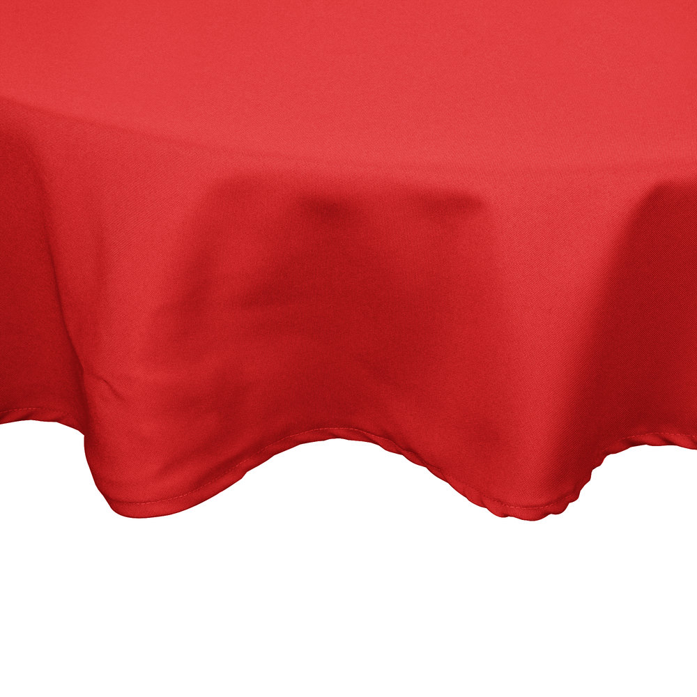 "54"" Red Round Hemmed Polyspun Cloth Table Cover"
