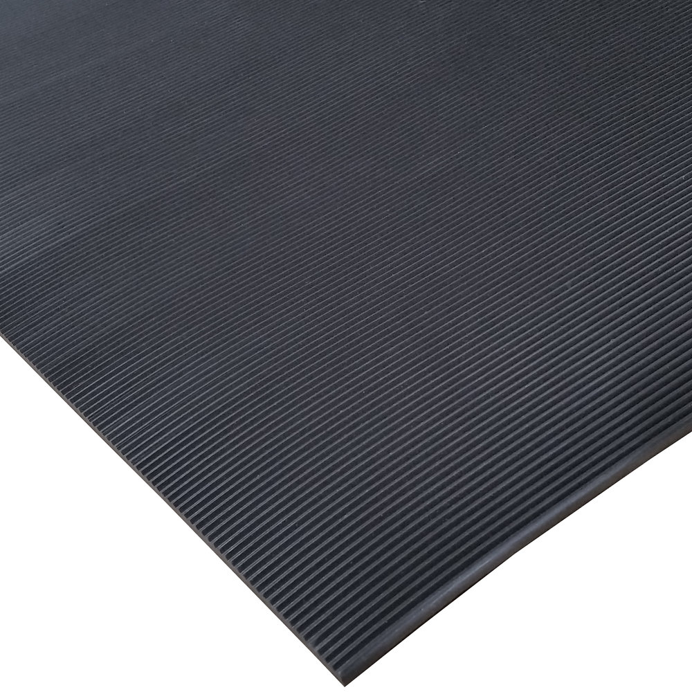 "Cactus Mat 1050R-C3 ASTM 3' Wide Corrugated Black Switchboard Runner Mat - 1/4"" Thick"