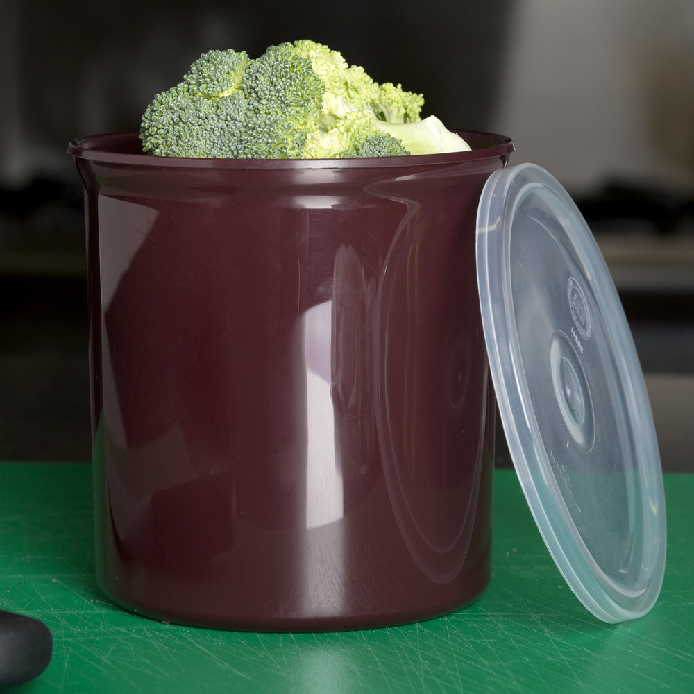 Carlisle 034101 Brown 1.2 Qt. Poly-Tuf Round Crock with Lid