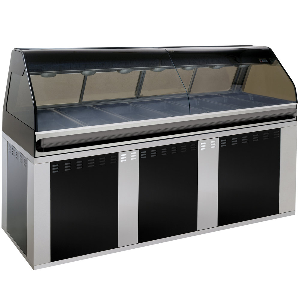 Alto-Shaam EU2SYS-96/PL BK Black Cook / Hold / Display Case with Curved Glass and Base - Left Self Service, 96""