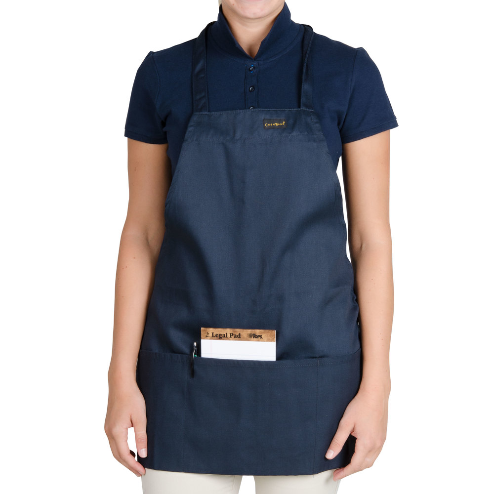 "Chef Revival 602BAFH-NV Customizable Professional Front of the House Navy Blue Bib Apron - 28""L x 25""W"