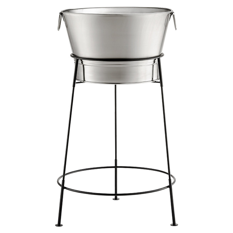 "Tablecraft BT2137N Stainless Steel Beverage Tub with Black Stand - 20"" x 37"""