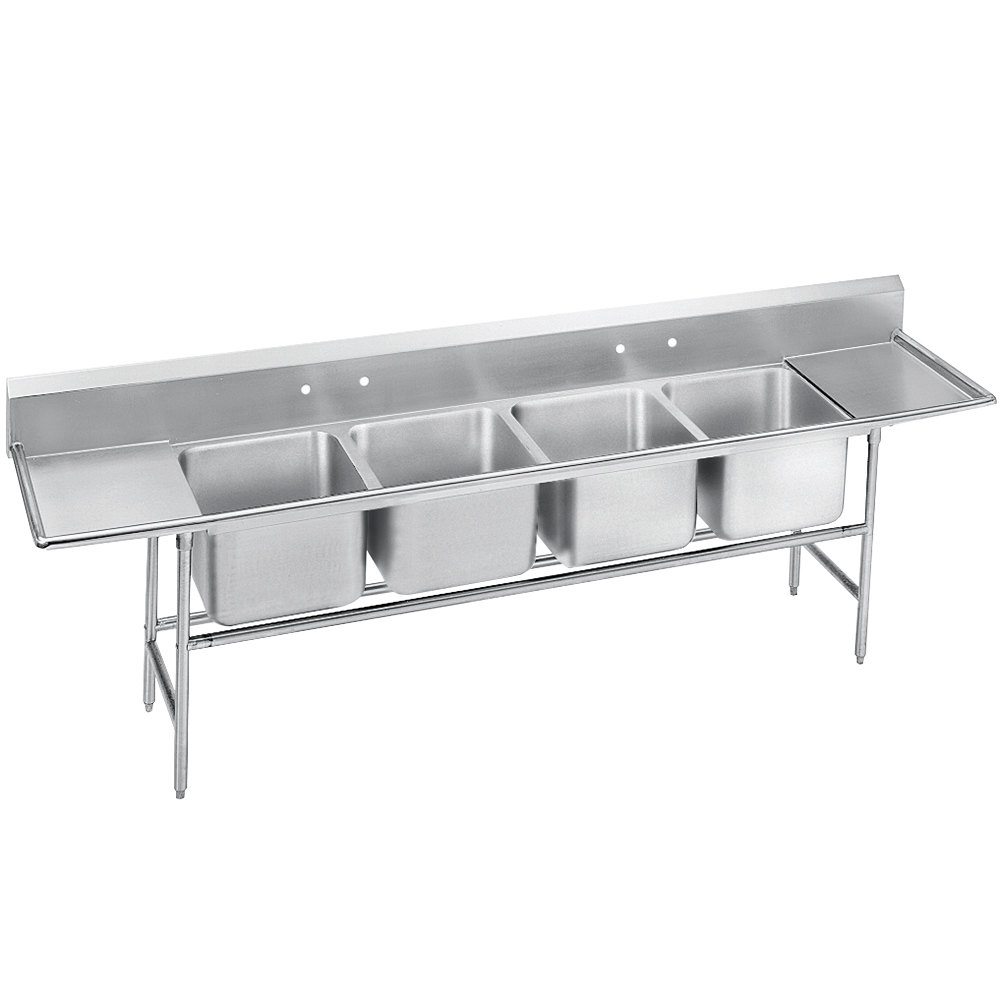 Advance Tabco 94-24-80-36RL Spec Line Four Compartment Pot Sink with Two Drainboards - 162""