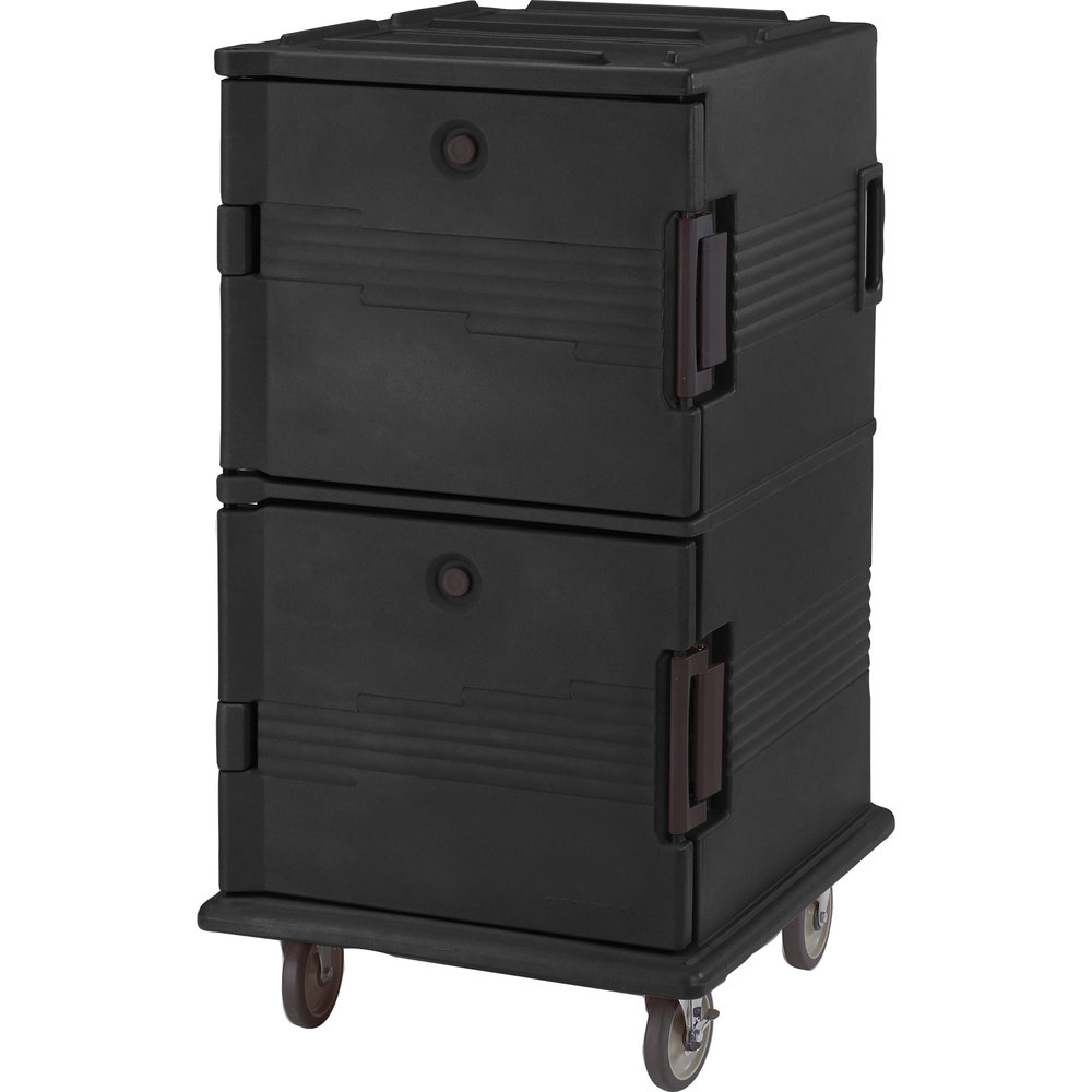 Cambro UPC1600HD110 Black Ultra Camcart Insulated Food Pan Carrier with Heavy Duty Casters