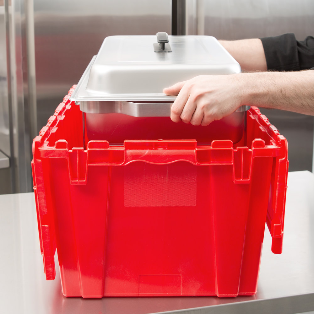 "Vollrath 52645 Tote 'N Store 23 5/8"" x 13 7/8"" x 11 5/8"" Red Chafer Box"