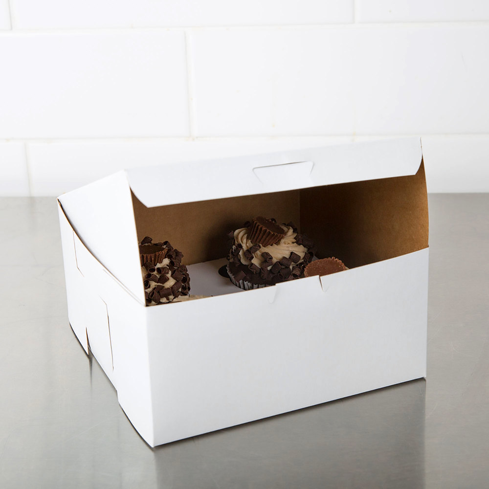"Southern Champion 941 8"" x 8"" x 4"" White Cake / Bakery Box - 250/Bundle"