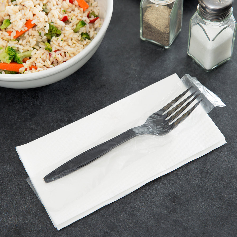 Visions Individually Wrapped Black Heavy Weight Plastic Fork 1000 / Case