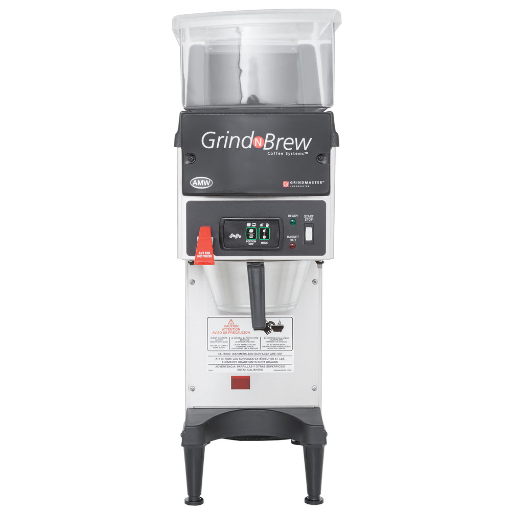 Grindmaster GNB10H 5.5 lb. Single Hopper 74 oz. Airpot Grind'n Brew Coffee Grinder and Automatic Brewer - 120V