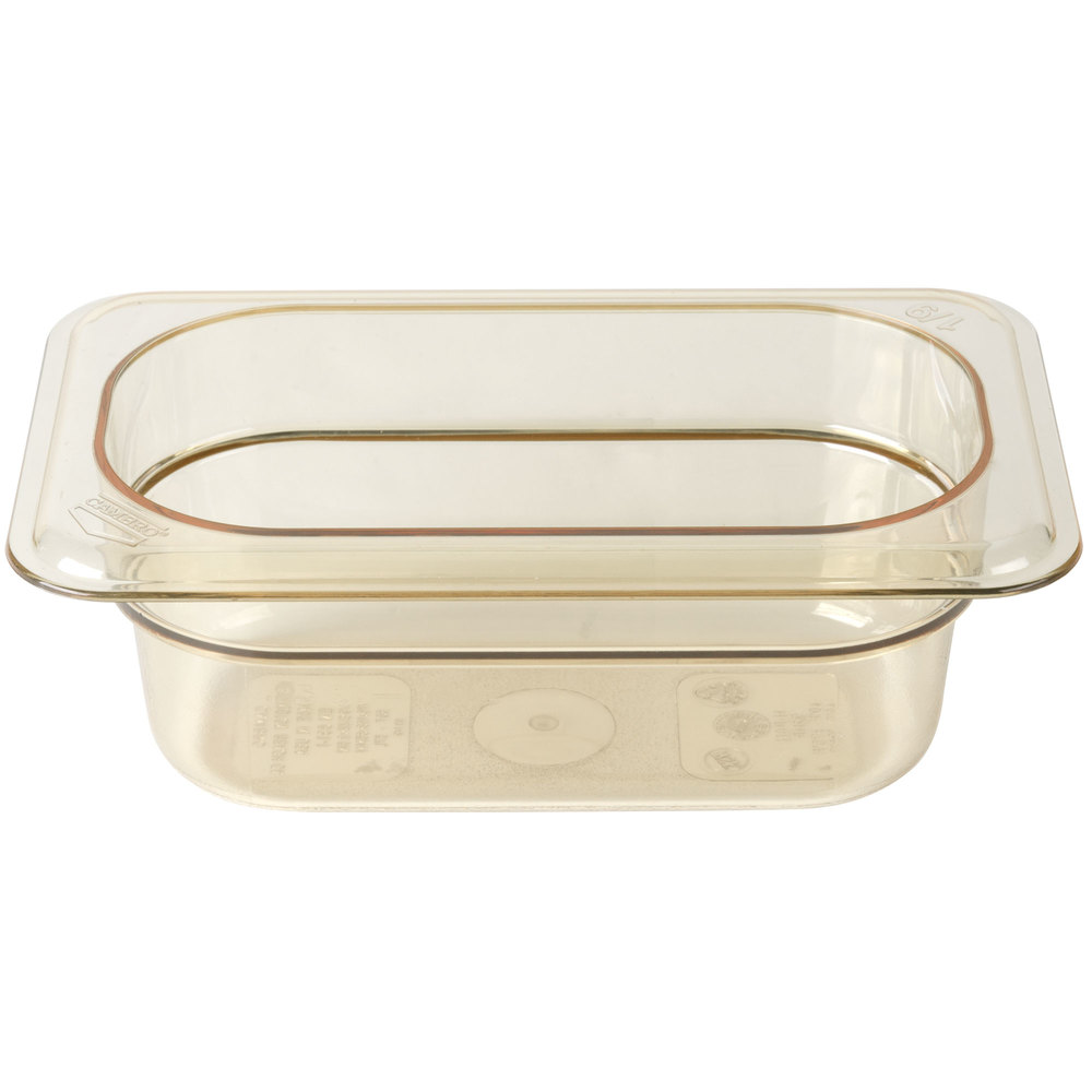 "Cambro 92HP150 H-Pan 1/9 Size Amber High Heat Food Pan - 2 1/2"" Deep"