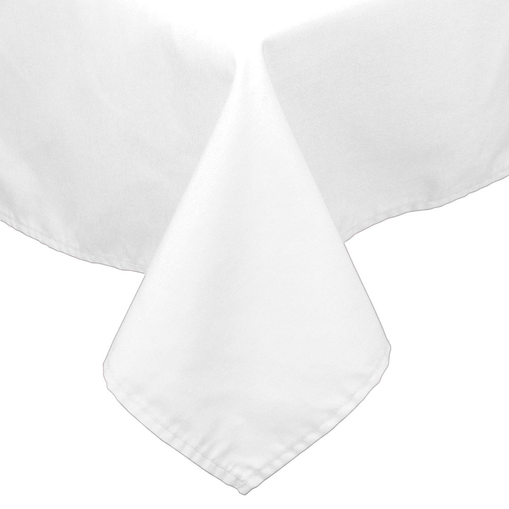 "45"" x 120"" White 100% Polyester Hemmed Cloth Tablecloth"