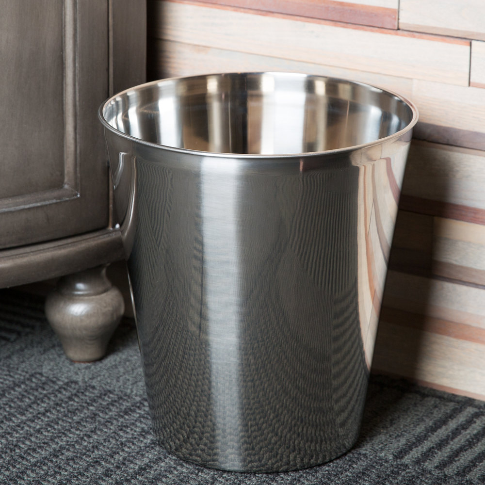 9 Qt. Mirror Polished Stainless Steel Finish Hotel Room Wastebasket