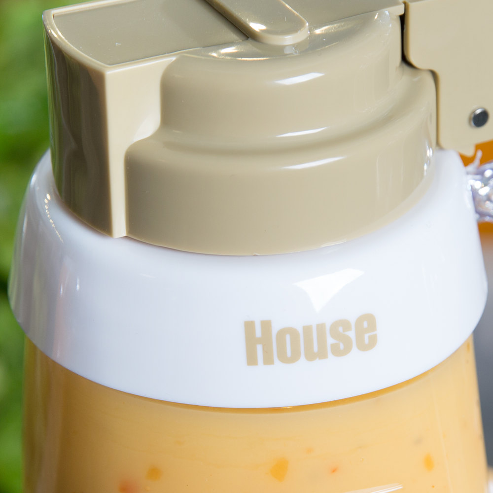 "Tablecraft CB3 Imprinted White Plastic ""House"" Salad Dressing Dispenser Collar with Beige Lettering"