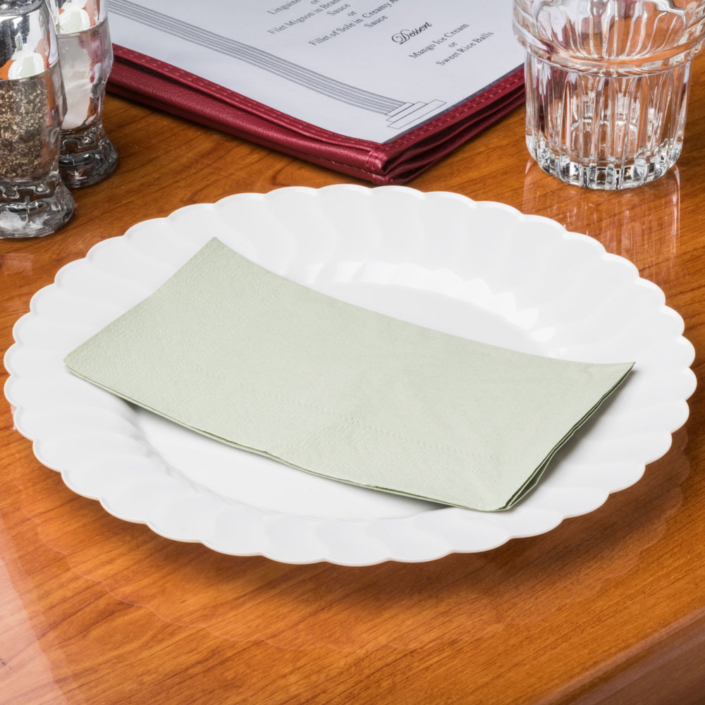 "Soft Sage Green Paper Dinner Napkins, 2-Ply, 15"" x 17"" - Hoffmaster 180546 - 125/Pack"
