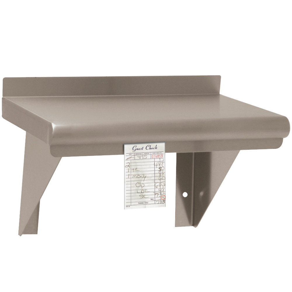 "Advance Tabco WS-12-48CM 12"" x 48"" Wall Shelf with Check Minder - Stainless Steel"