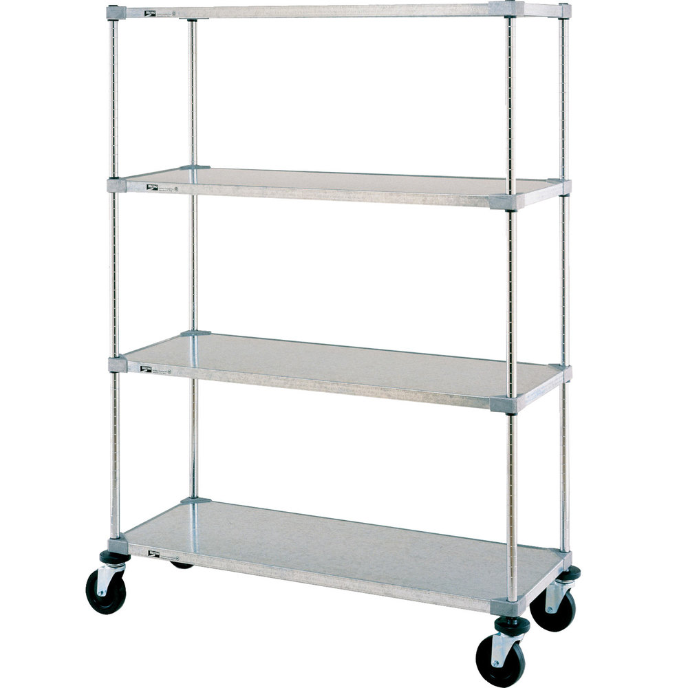"Metro Super Erecta F536EG Galvanized Mobile Solid Shelving Unit with Polyurethane Casters 24"" x 36"" x 68"""