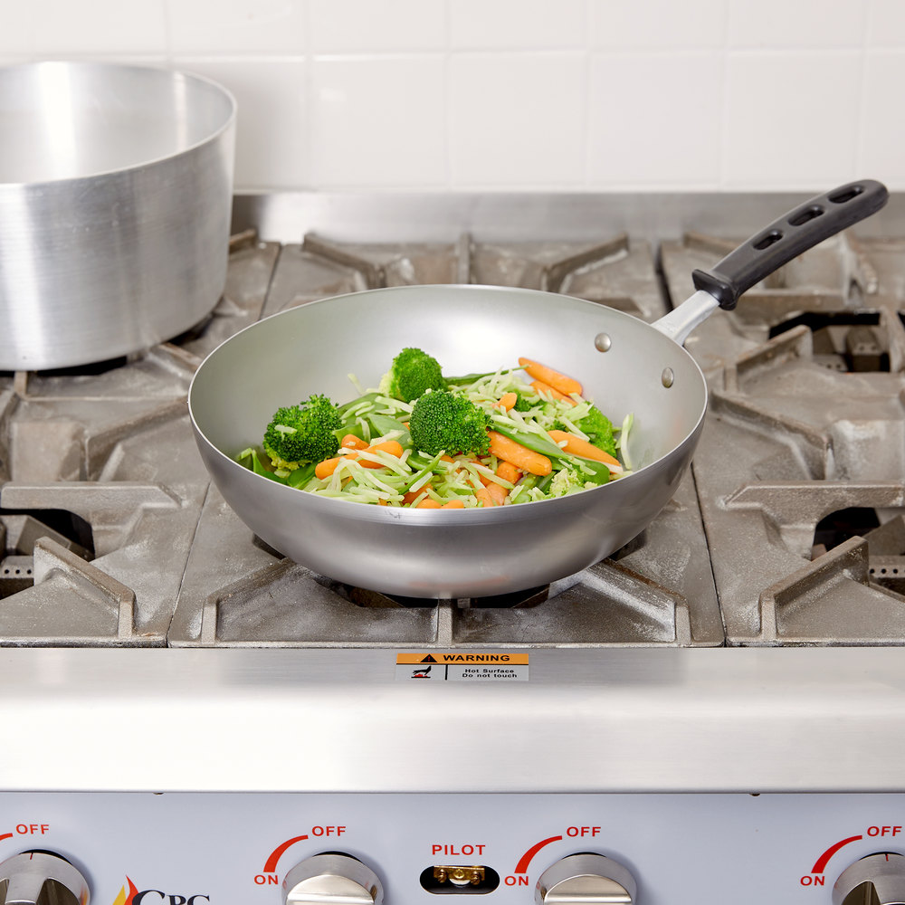 "Vollrath 59949 11"" Carbon Steel Stir Fry Pan with Silicone Handle"