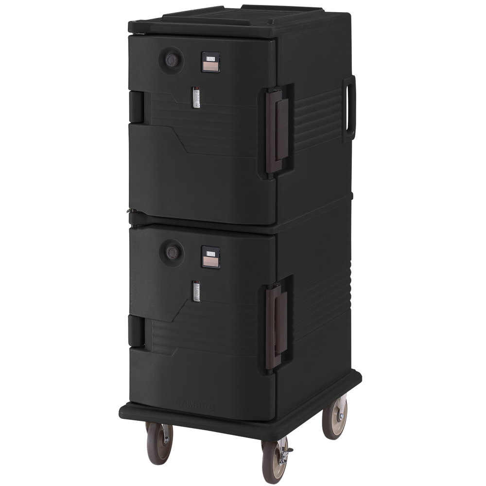 Cambro UPCH800110 Black Ultra Camcart Two Compartment Heated Holding Pan Carrier with Casters, Both Compartments Heated - 110V