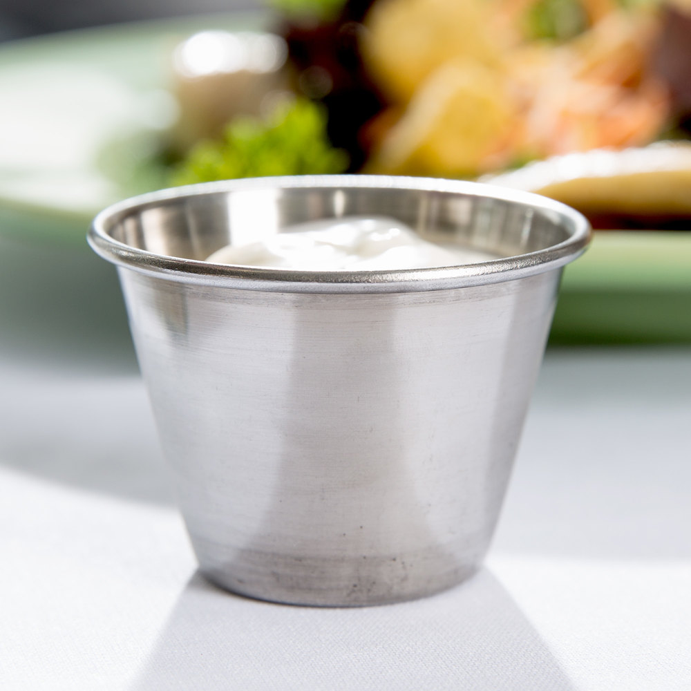2.5 oz. Stainless Steel Round Sauce Cup - 12 / Pack
