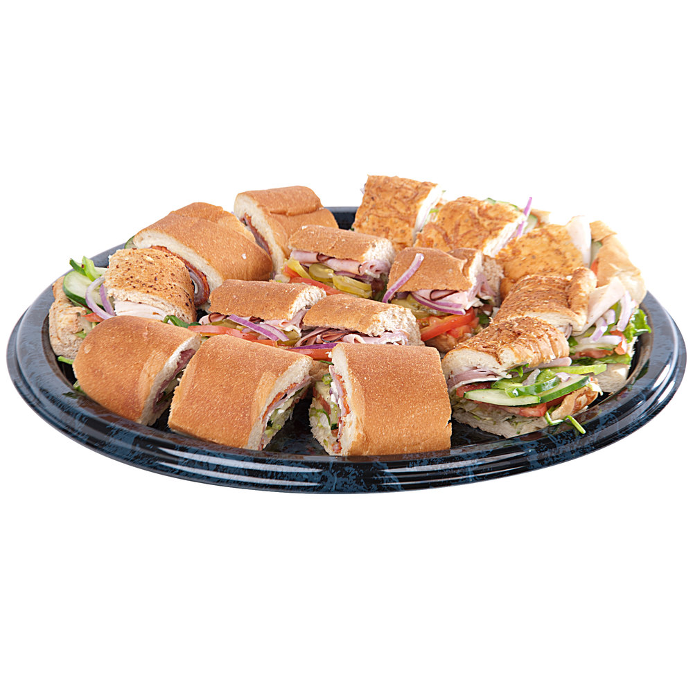 "Sabert 816 16"" Black Marble Round Catering Tray - 3/Pack"