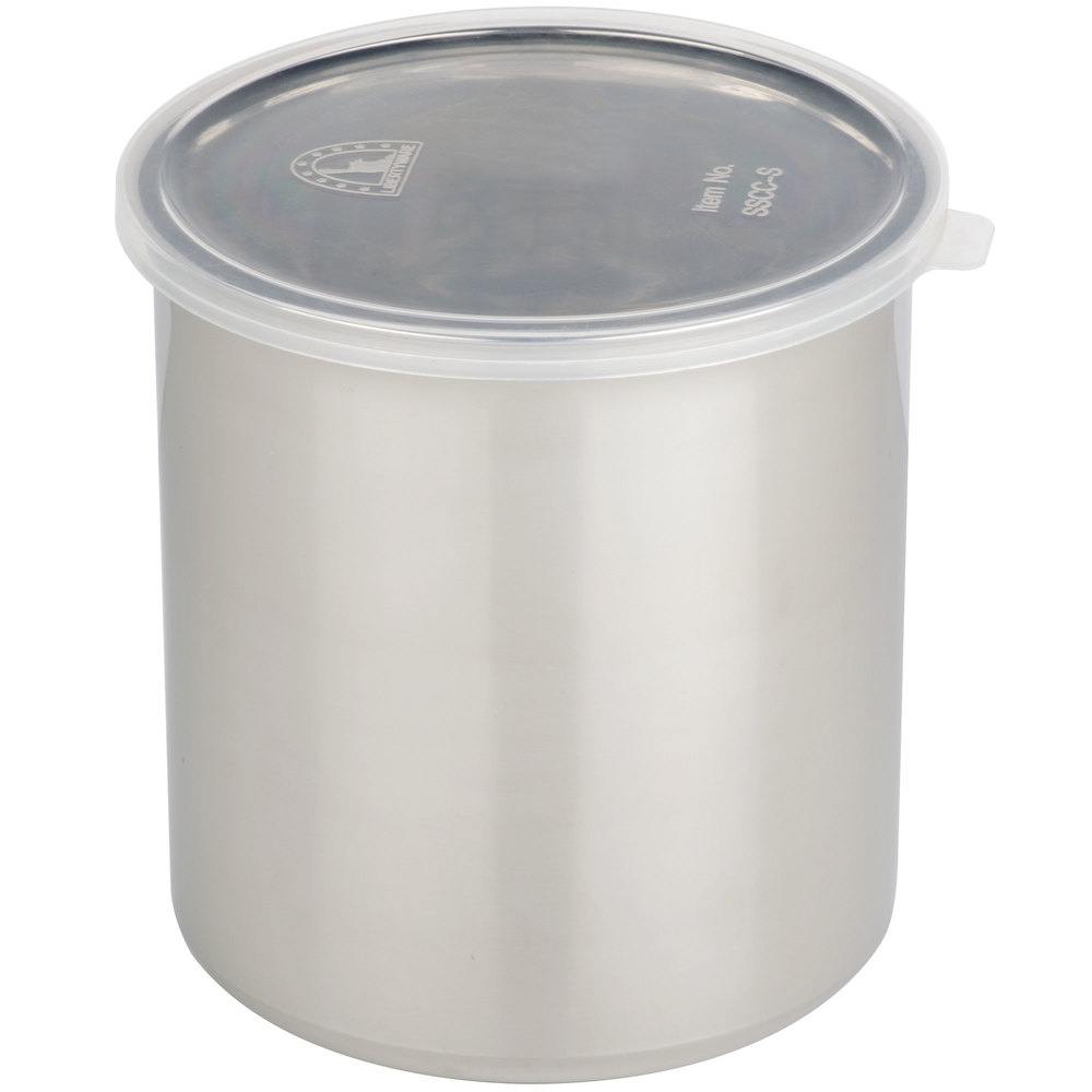 shop 1 2 qt stainless steel food storage container with snap on plastic lid in stock at a low. Black Bedroom Furniture Sets. Home Design Ideas