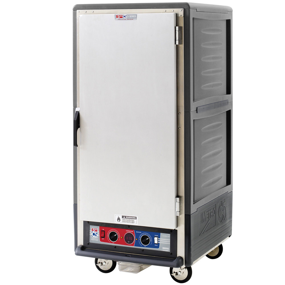 Metro C537-CFS-L-GY C5 3 Series Heated Holding and Proofing Cabinet with Solid Door - Gray