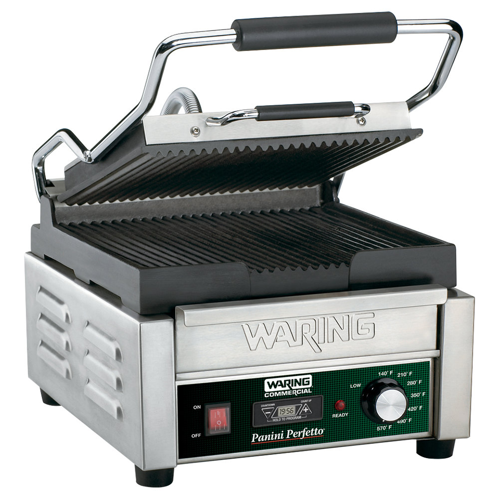 "Waring WPG150T 9 3/4"" x 9 1/4"" Panini Perfetto Grooved Top & Bottom Panini Sandwich Grill with Timer - 120V"