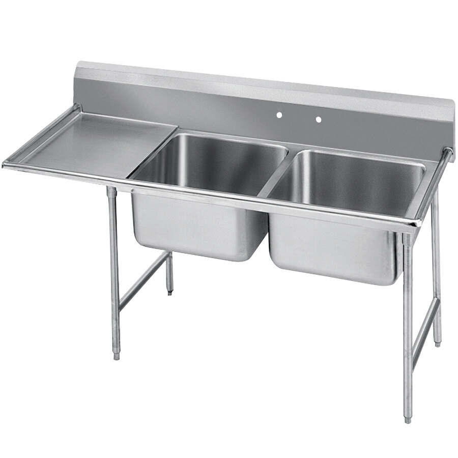 Advance Tabco 9-2-36-24 Super Saver Two Compartment Pot Sink with One Drainboard - 64""